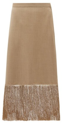Burberry Fringed Wool-blend Pencil Skirt - Beige