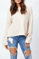 Love Stitch Lovestitch Tie Cuff Sweater