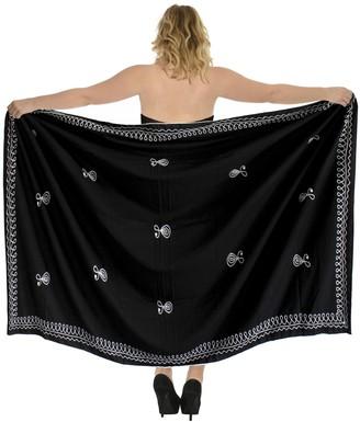 "LA LEELA Rayon Women Halloween Black Embroidered Beach Swim Sarong Pareo Women Cover up 72""X42"" Halloween Black_P247"