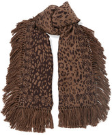 Alexander McQueen Tasseled Wool And Silk-blend Jacquard Scarf - Leopard print