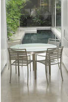 Lillia Round Steel Frame & Glass Dining Table Finish: Sapphire White Glass