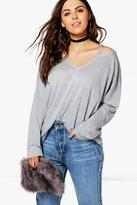 Boohoo Plus Tiffany Shimmer Cut Out Tee