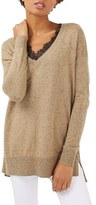 Topshop Women's Lace V-Neck Sweater Tunic