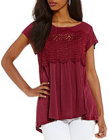 Jolt Crochet Cap Sleeve Knit Top