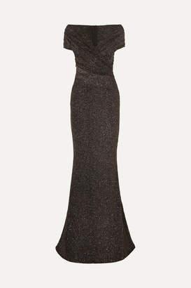 Talbot Runhof Tokara Off-the-shoulder Ruched Stretch-lurex Gown - Black