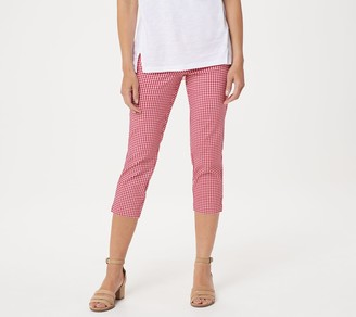 Belle By Kim Gravel Citi Twill Gingham Print Cropped Pants