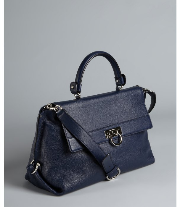 Salvatore Ferragamo blue grained leather convertible doctor's bag