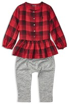 Ralph Lauren Infant Girls' Plaid Peplum Blouse & Marled Pants Set - Sizes 3-24 Months