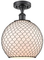 """clear Sowder 1 - Light 2.5"""" Unique/Statement Globe Semi Flush Mount Breakwater Bay Fixture Finish: Polished Nickel, Shade Color Glass with Black Wire"""