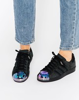 adidas Black Superstar Sneakers With Holographic Metal Toe Cap