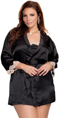 Icollection Lingerie iCollection Women's Plus Size 3/4 Sleeve Satin Robe with Lace Cuffs