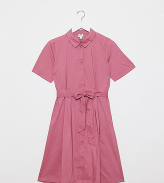 JDY exclusive poplin shirt dress in pink