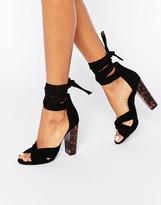 Missguided Twist Strap Block Heel Sandal