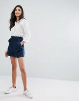 MANGO Paperbag Tie Waist Linen Shorts