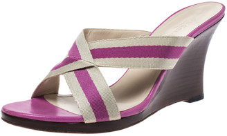 Gucci Beige/Pink Canvas Wedge Cross Strap Open Toe Sandals Size 39