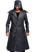 The Custom Jacket Jacob Syndicate Frye Hooded Creed Coat - Men's Leather Assassins Trench Jacket (L, )