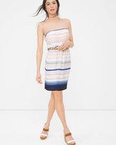 White House Black Market Strapless Stripe Blouson Dress