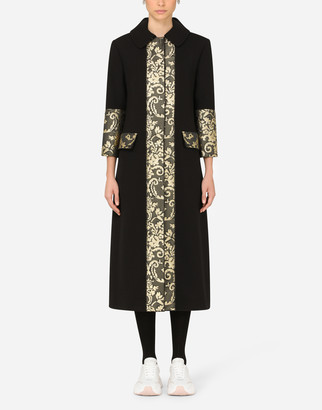 Dolce & Gabbana Stretch Wool Coat With Jacquard Details