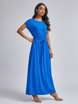 Dorothy Perkins Petite Cobalt Jersey Roll Sleeve Maxi Dress - Blue