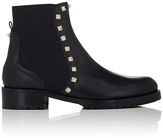 Valentino Women's Rockstud Leather Biker Ankle Boots