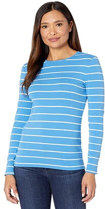 Lauren Ralph Lauren Striped Cotton-Blend Top (Captain Blue/White) Women's Clothing