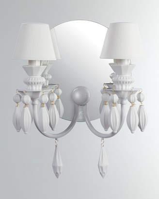 Lladro Belle de Nuit 2-Light Wall Sconce White
