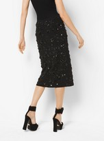 Michael Kors Floral-Embroidered Stretch Pebble-Crepe Slit Skirt