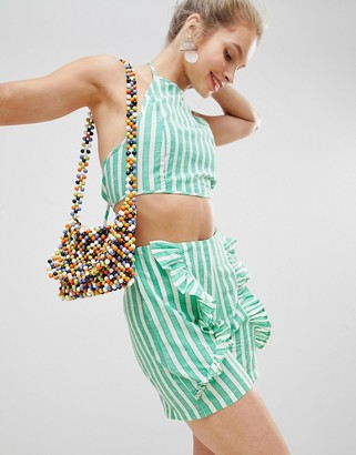 Glamorous High Neck Crop Top With Tie Back In Candy Stripe Co-Ord-Green