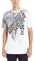 Southpole Men's Short Sleeve Foil and Screen Print T-Shirt with Slanting Logo