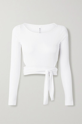 Alo Yoga Cropped Tie-front Stretch-modal Jersey Top - White