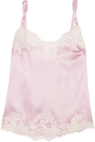 Dolce & Gabbana Lace-trimmed Stretch Silk-blend Satin Camisole - Baby pink