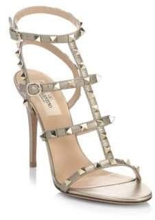 Valentino Rockstud Metallic Leather Sandals