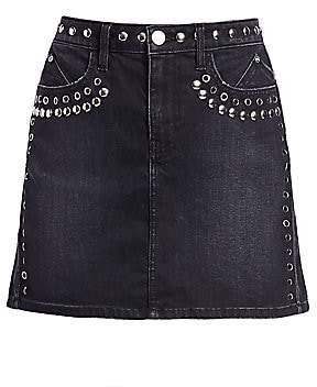 Current/Elliott Women's Grommet & Stud Denim Mini Skirt