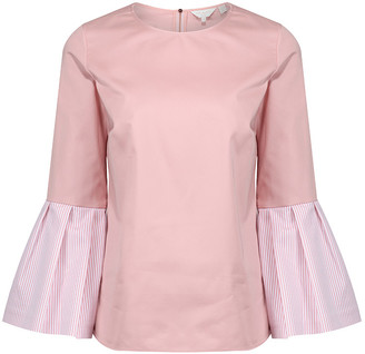 Ted Baker Jesieh Cotton Frilled Bell Sleeve Top - 12 - Pink/White