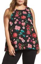 Vince Camuto Plus Size Women's Floral Heirlooms Sleeveless Blouse