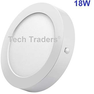 Tech Traders Surface Mounted LED Panel Circular Light Ceiling Downlight Lamp, Aluminum/Plastic, Integriert, 0 W, Cool White