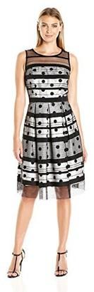Sandra Darren Women's Sd Collection Sleeveless Shantung Dress with Striped Mesh Flocking Black/Ivory 6