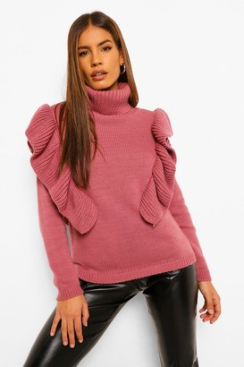 boohoo Petite Roll Neck Ruffle Neck sweater