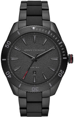 Armani Exchange Men Enzo Black Stainless Steel Bracelet Watch 46mm