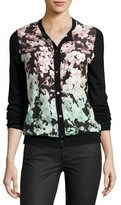 Neiman Marcus Floral Silk-Front Cashmere Bomber Cardigan