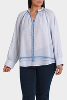 Volie Top with fine stripe and Embroidery