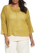 Eileen Fisher Plus Size Women's Organic Linen Mesh Knit Top