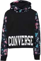 Converse Girls Printed Cropped Sweatshirt Black
