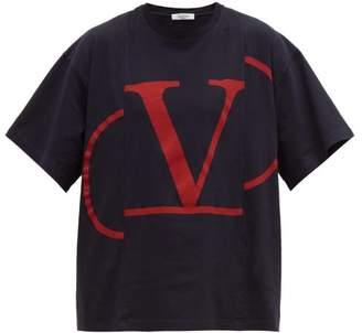 Valentino Deconstructed Vlogo-print Cotton T-shirt - Mens - Navy