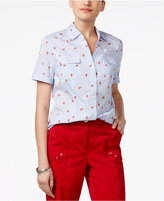 Karen Scott Petite Cotton Striped Ladybug-Print Shirt, Only at Macy's