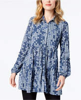 Style&Co. Style & Co Printed Bubble-Sleeve Tunic, Created for Macy's