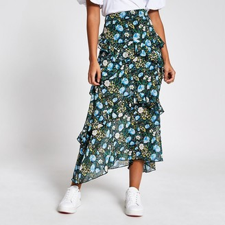 River Island Black floral frill chiffon midi skirt