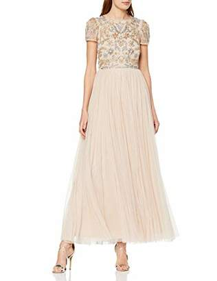 Frock and Frill Women's Chloe Embellished Maxi Dress Party (Barely Pink), (Size:UK )