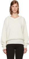 Lemaire Off-White Wool V-Neck Sweater