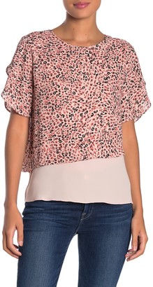 14th & Union Layered Butterfly Sleeve Blouse (Regular & Petite)